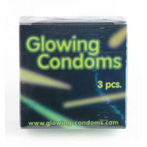 3 stk. Glowing Condoms, selvlysende kondomer