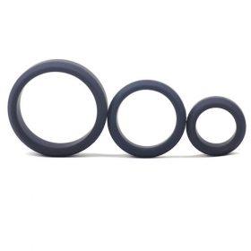 Silikone PenisRinge 3 stk Sæt (Sorte) med tre ringe