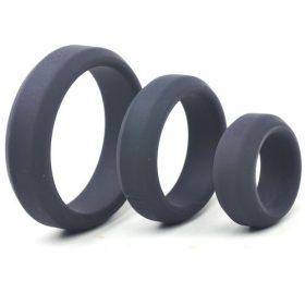 Silikone Triple Penis Ringe Sæt (Sorte)