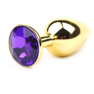 Guld Metallisk Anal Plug (Small) med lilla diamant