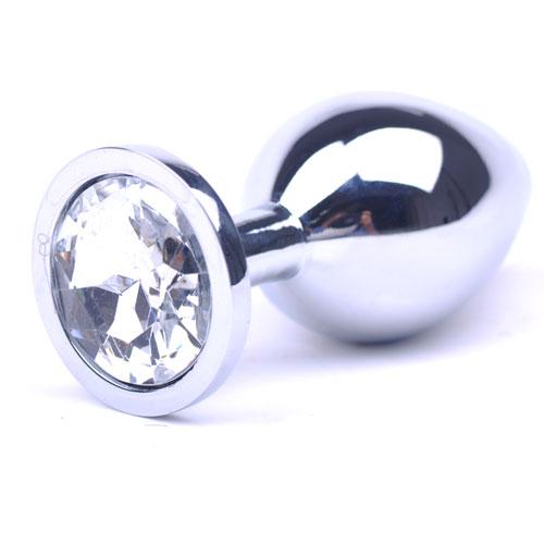 Hvid Metallisk Anal Plug (Medium)