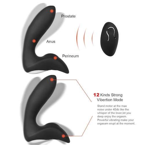 Prostata massager Sort 12 forskellige vibrationer