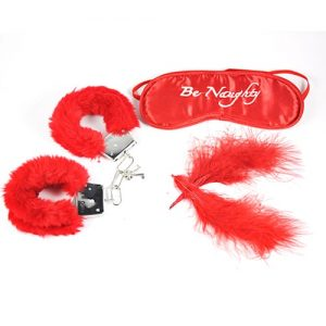 blid bondage sæt med håndjern i rød