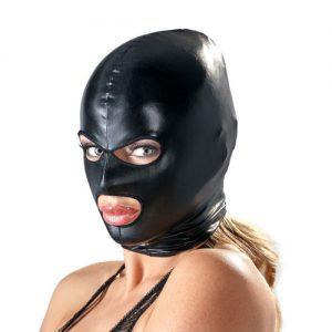 Fetish maske med hul til øjne og mund i sort