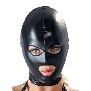 Fetish maske med hul til øjne og mund i latex