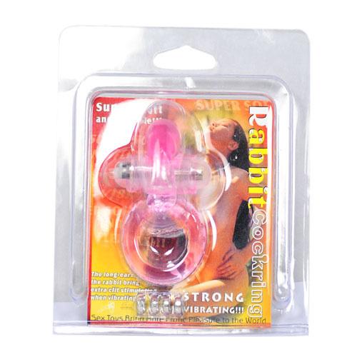 Pink penisring med vibrator kaninører