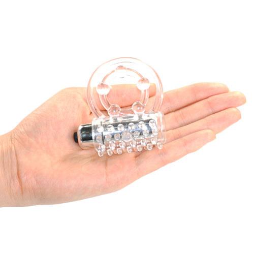 Gennemsigtig vibrerende penis ring med batteri