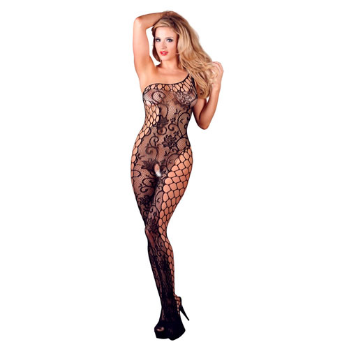 Image of   Blomstret net bodystocking i sort
