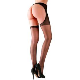 strømpebukser med hofteholder i sort nylon