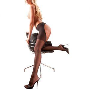 strømpebukser med hofteholder i sort