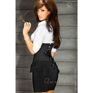 Sort lårkort nederdel med flæser