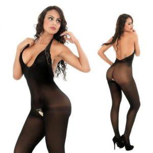 sort elegant catsuit i nylon