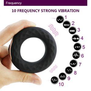 genopladelig penisring med 10 vibrationer