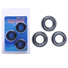 3 fleksible penisringe i sort