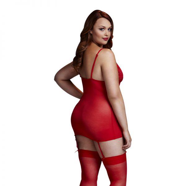Baci rød korset kjole plus size
