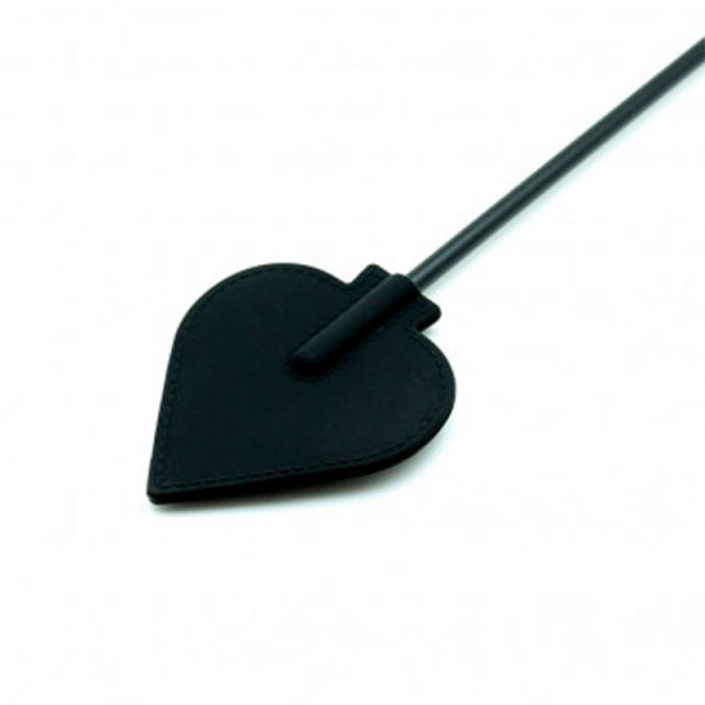 ridepisk sort hjerte silikone
