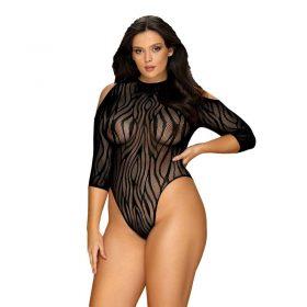 Obsessive Plus Size sort mønstret bodystocking
