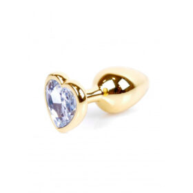 Guld Anal Plug med Hjerteformet Diamant