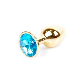 Guld Anal Plug med lyseblå diamant