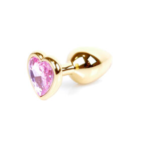 Guld Anal Plug med pink Hjerteformet Diamant