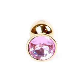 Guld anal plug med diamant i rosa