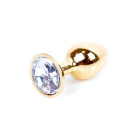 Guld anal plug med klar diamant